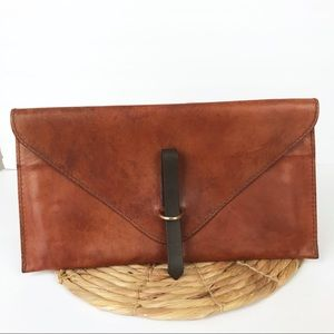 Peter Nappi Nina Cognac Envelope Clutch Leather